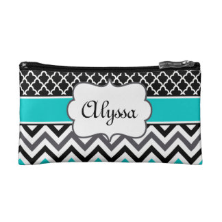 Teal Black Quatrefoil and Chevron Personalized Cosmetic Bags