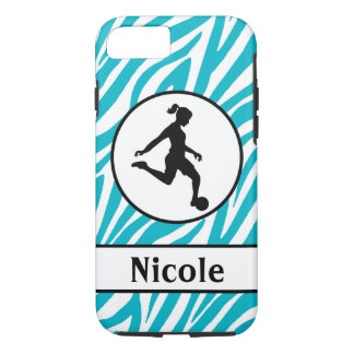 Teal Black Soccer Cell Phone Case