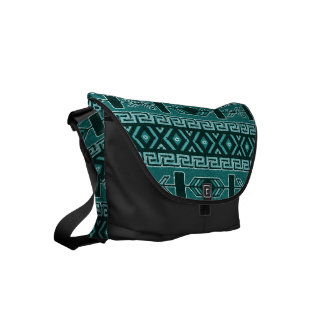 Teal Black Tribal Aztec Pattern Southwest Bag Messenger Bag