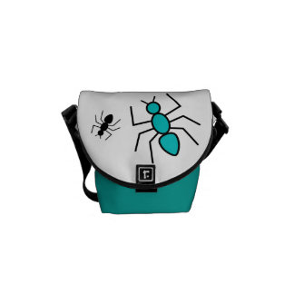 Teal & Black Vector Ants Courier Bags