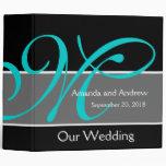 Teal Black Wedding Planner Keepsake Vinyl Binders