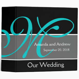 Teal Black Wedding Planner Keepsake Vinyl Binders