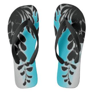 Teal Black White Wisteria Flip Flops Shower Shoes