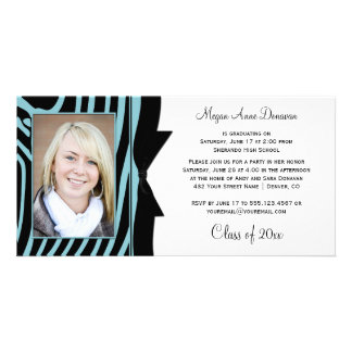 Teal Black Zebra Print Photo Graduation Party Photo Cards