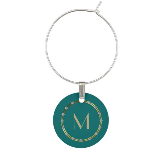 Teal, Bling, and Monogram Wine Glass Charm