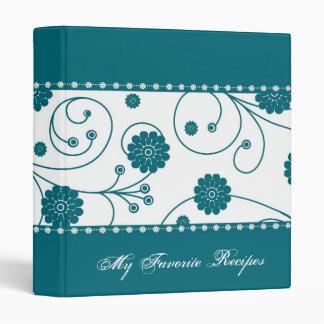 Teal Bloom Banner Recipe Book Vinyl Binders