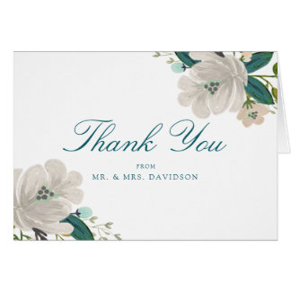 Teal Blooms Wedding Thank You Card