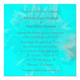 "Teal Blue Abstract Floral Wedding 5.25"" Square Invitation Card"