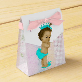 Teal Blue African American Baby Girl Shower Wedding Favor Box