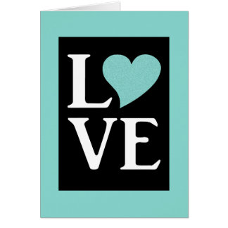 Teal Blue All You Need Is Love Party Note Cards