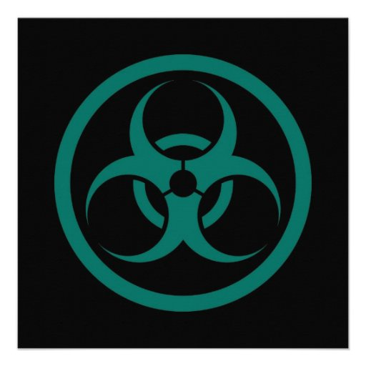 Teal Blue and Black Bio Hazard Circle Custom Invitations