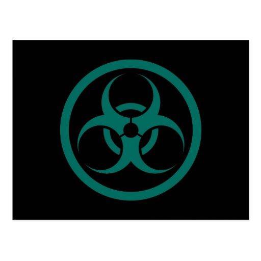 Teal Blue and Black Bio Hazard Circle Post Cards