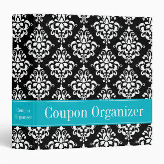 Teal Blue and Black Damask Coupon Organizer Binders