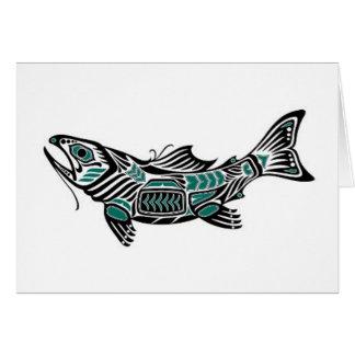 Teal Blue and Black Haida Spirit Fish Card