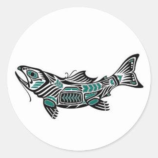 Teal Blue and Black Haida Spirit Fish Classic Round Sticker