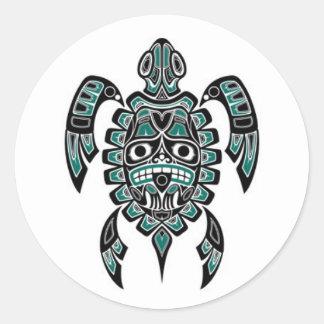 Teal Blue and Black Haida Spirit Sea Turtle Classic Round Sticker
