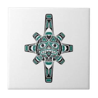 Teal Blue and Black Haida Sun Mask on White Ceramic Tile