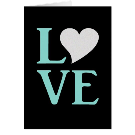 Teal Blue And Black Love Party Note Cards