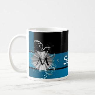 Teal blue and black monogram basic white mug
