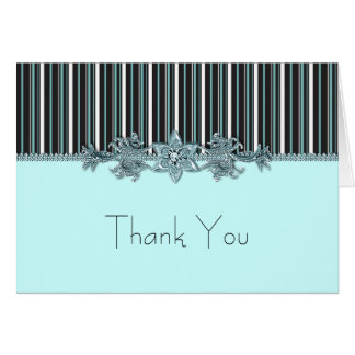 Teal Blue and Black Thank You Cards