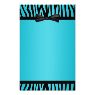 Teal Blue and Black Zebra Printed Bow Stationery