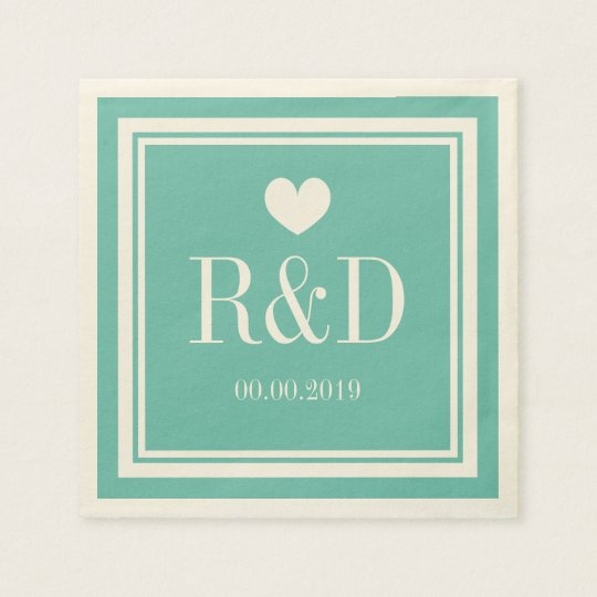 Teal blue and ecru monogram paper wedding napkins paper napkins