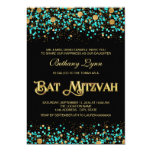 """Teal Blue and Gold Bat Mitzvah 5"""" X 7"""" Invitation Card"""