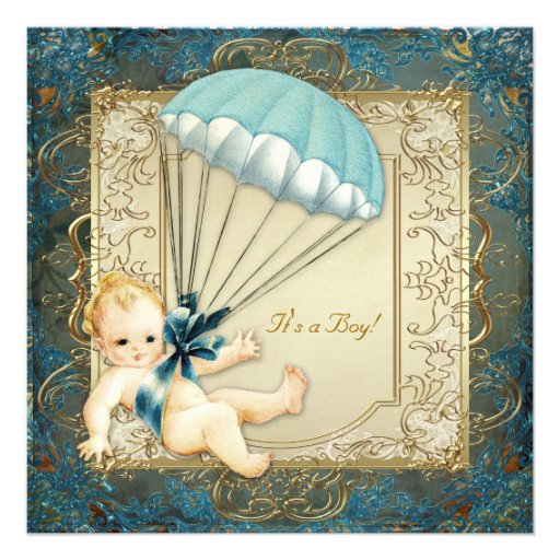 Teal Blue and Gold Boys Baby Shower Invites