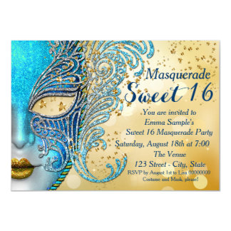 "Teal Blue and Gold Sweet 16 Masquerade Party 4.5"" X 6.25"" Invitation Card"