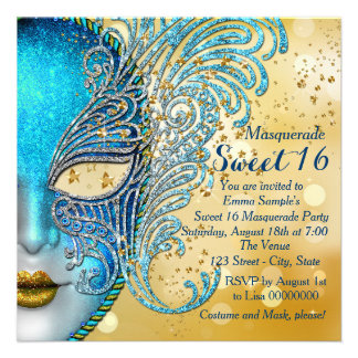 Teal Blue and Gold Sweet 16 Masquerade Party Personalized Invite
