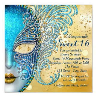 Teal Blue and Gold Sweet 16 Masquerade Party 5.25x5.25 Square Paper Invitation Card
