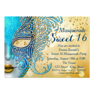 Teal Blue and Gold Sweet 16 Masquerade Party Personalized Invitation