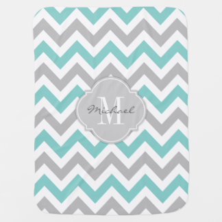 Teal Blue and Gray Chevron with Monogram Baby Blanket