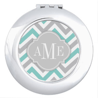Teal Blue and Gray Chevron with Monogram Compact Mirrors