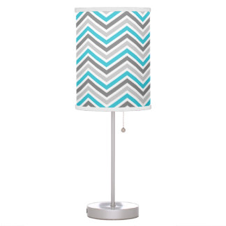Teal Blue and Gray Chevron Zigzag Pattern Table Lamp