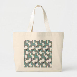 Teal blue and grey abstract pattern modern large tote bag