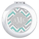 Teal Blue and Grey Chevron with Monogram Makeup Mirror
