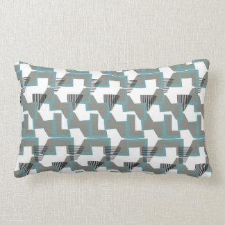 Teal blue and grey geometric abstract lumbar pillow