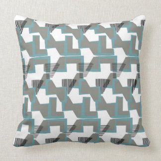 Teal blue and grey geometric abstract throw pillow