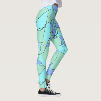 Teal Blue and Olive Green Leggings for Women