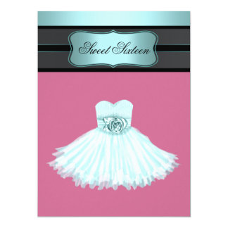"""Teal Blue and Pink Sweet Sixteen Birthday Party 6.5"""" X 8.75"""" Invitation Card"""