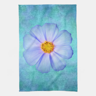 Teal Blue and Purple Daisy on Aqua Watercolor Kitchen Towel