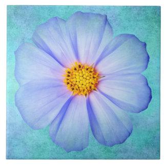 Teal Blue and Purple Daisy on Aqua Watercolor Tile