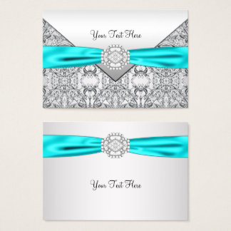 Teal Blue and Silver Business Card
