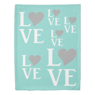 Teal Blue And Silver Love Blue Duvet Cover