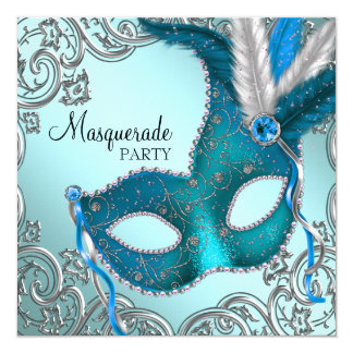 """Teal Blue and Silver Mask Masquerade Party 5.25"""" Square Invitation Card"""