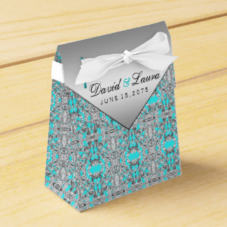 Teal Blue and Silver Wedding Favor Box