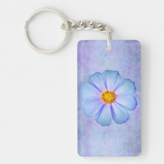 Teal Blue and Violet Daisy on Purple Watercolor Keychain