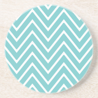 Teal Blue and White Chevron Pattern 2 Beverage Coasters