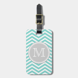 Teal Blue and White Chevron with Monogram Luggage Tag